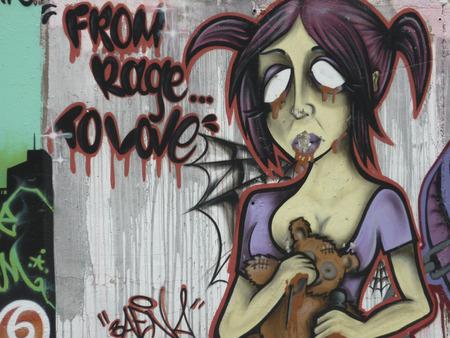 vandalism: Street art graffiti in Calleta, Spain, showing, modern living, art, vandals and vandalism, travel and tourism, holidays and vacations