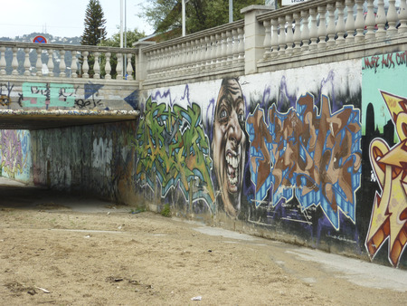 Street art graffiti in Calleta, Spain, showing, modern living, art, vandals and vandalism, travel and tourism, holidays and vacations