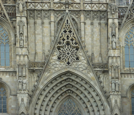 barcelona cathedral: Close up showing architectural detail of Barcelona Cathedral, historic religious buildings in Spain, Europe Stock Photo