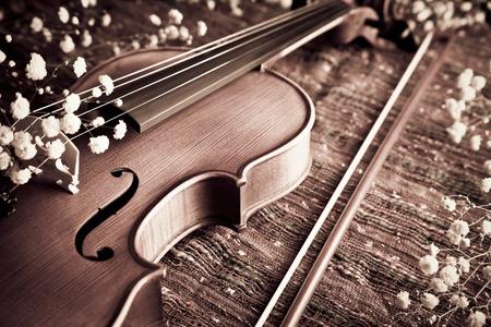 romance: Violino e prua con gypsophelia sul panno tessuto per concetti musicali e l'amore e romanticismo