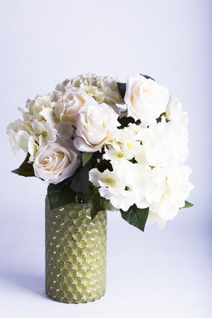 Fake Silk Peonies And Hydrangea In Green Glass Vase For Decoration