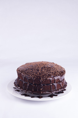 Luxurious Rich Chocolate  Cake on White Plate for concepts of food and indulgence isolated on white background