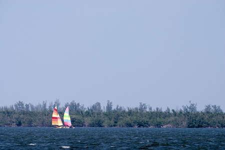 encrespado: Dos veleros de colores brillantes en un viento sopla se oyen los r�os