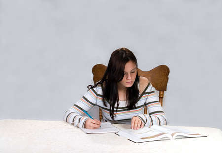 Teenage girl studying