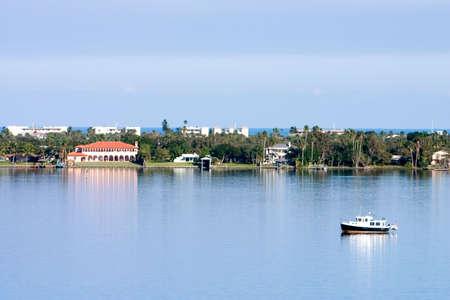 barrier island: Florida barrier island scenic shoreline with Atlantic in far background