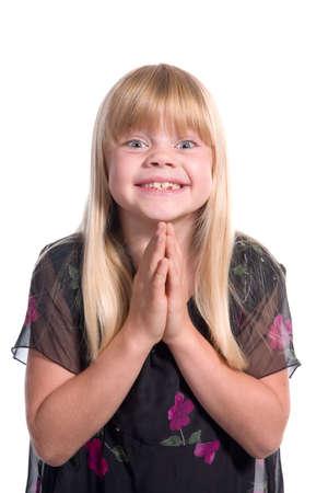 suplicando: Muchacha excitada joven que pide abogando por la petici�n...