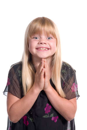 Young excited girl asking pleading requesting ... Stock Photo