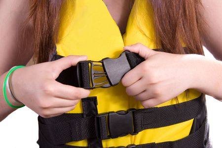 Girl Befestigungstechnik Schnalle auf Rettungsweste / Ski-Weste  Standard-Bild