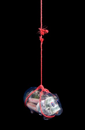 Savings hanging from fraying rope