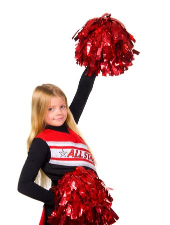 Young cheerleader smiling at camera shot over white