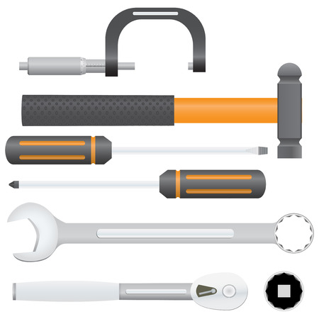 Collection of automotive service tools. Includes micrometer, combination wrench, ball pein hammer, screwdrivers, ratchet, and socket.
