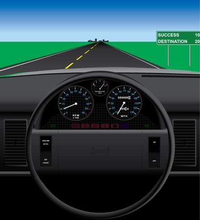 自動車のダッシュ ボードの図。  イラスト・ベクター素材
