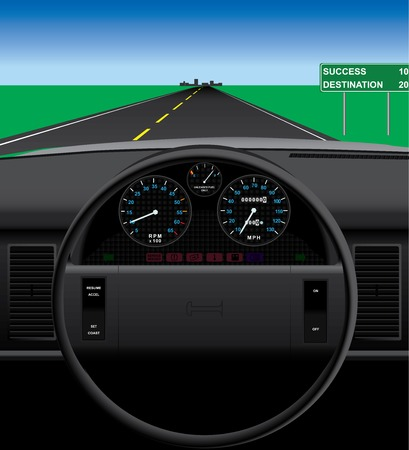 automobile dashboard illustration. 向量圖像