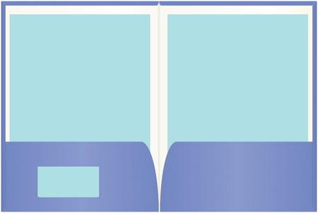 Open presentatie map met gemakkelijk aanpasbaar blanco papier en visite kaartje kopieer ruimte.