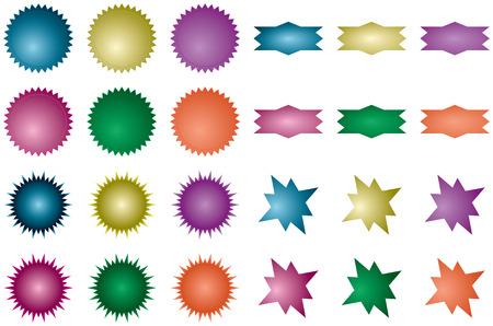 다양 한 starburst 셰이프 컬렉션; 각각 6 개의 그라디언트 색상으로 채워져 있습니다.