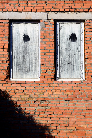 shutter: Stone wall and blue window shutter. Traditional house. Stock Photo