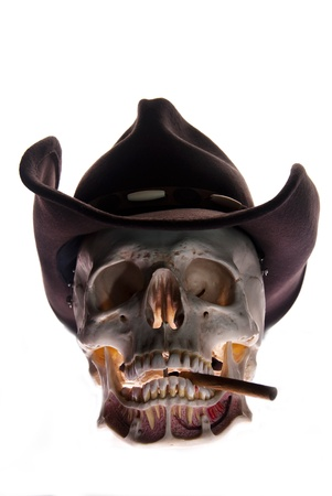 Skull with hat and cigarett, non smoking concept