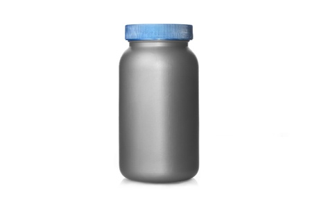 Gay plastic can with blue cap isolated on white, lot of copy space
