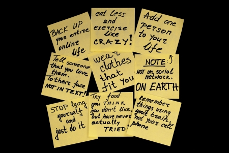 new love: Group of sticky yellow notes with a new year