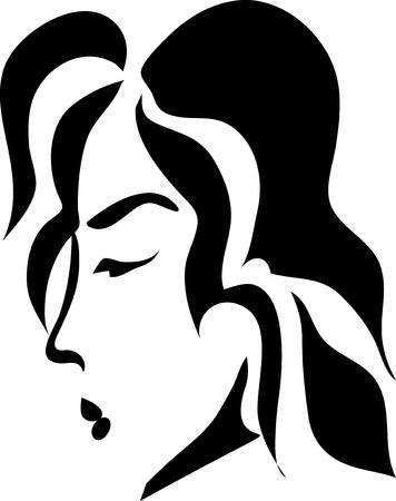 tattoo girl: Una mujer negro y blanco Vectores