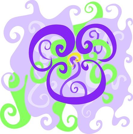 stylized design: Astratto disegno stilizzato di fiore viola