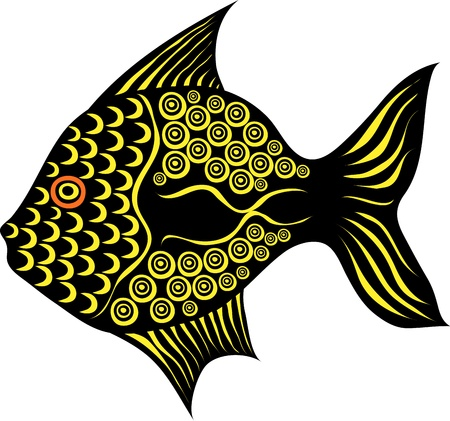 fish form: Stylized contrast fancy fish on white background