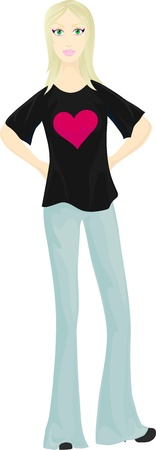 sports jersey: Pretty girl in T-shirl with heart printed on it Illustration