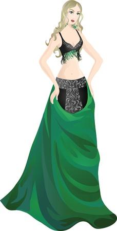 Hermosa chica en traje de encantadora danza del vientre Ilustración de vector