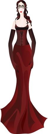claret red: Hermosa mujer en elegante vestido burdeos y la m�scara de la mascarada Vectores