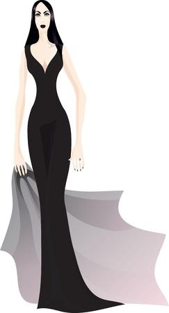 dark haired woman: Gothic girl in elegant black dress.