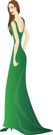 dressy: Hermosa chica en vestido verde. Vectores