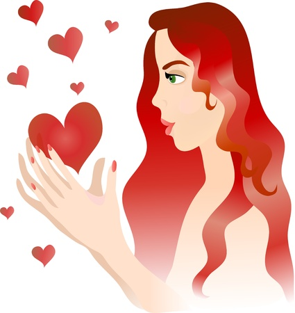 Beautiful girl with hearts. Stock Vector - 12482336