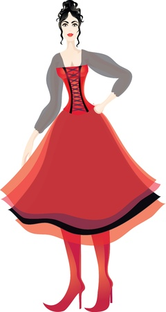 puffed: Beautiful brunette woman in corset and puffed multilayer skirt. Illustration