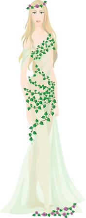 spectre: Beautiful fairy girl in light transparent clothes decorated with leaves.