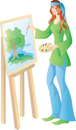 artist's canvas: Beautiful artist is painting a picture of bright summer landscape.