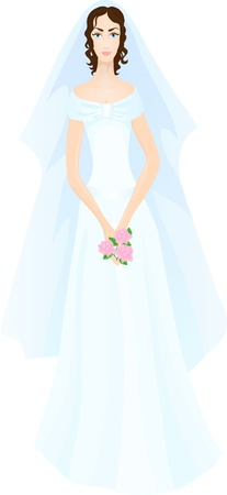admirable: Beautiful bride in splendid white dress with roses in her hands.  Illustration