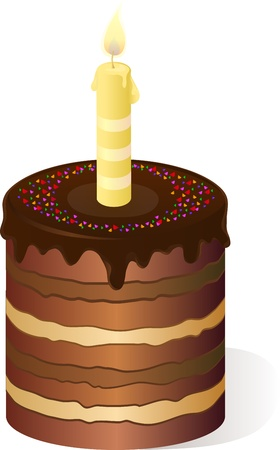 taper: Holiday multilayer cake with candle.