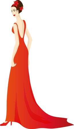 Beautiful girl in splendid evening red dress.  Stock Vector - 12482215
