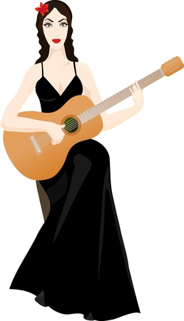 rendition: Beautiful woman with classical guitar