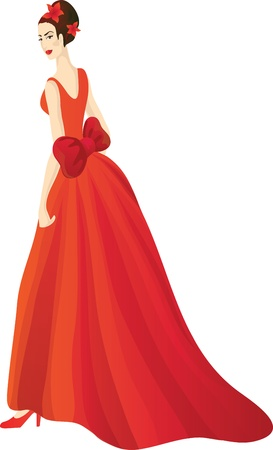 Beautiful woman in splendid red dress Stock Vector - 12482430