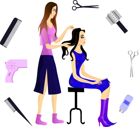 Hairdresser and her client, and various beautician accessories  Ilustrace