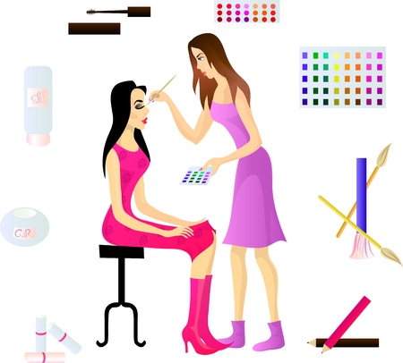 Makeup artist and her client, and various cosmetic accessories