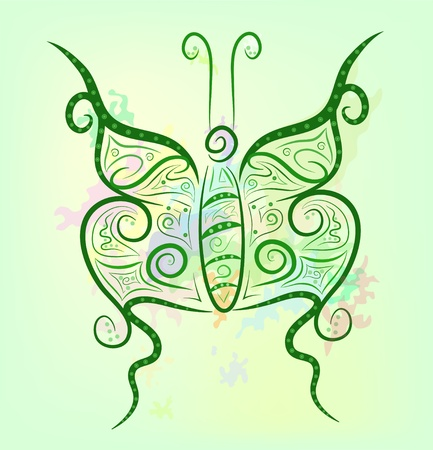 Fancy contrast butterfly on a bright colorful background Stock Vector - 12482499