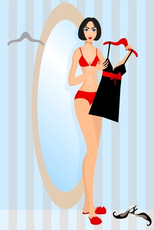 Beautiful woman standing in front of a mirror and holding a peg with dress  Stock Vector - 12482502