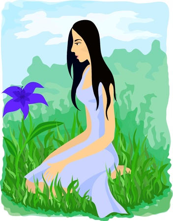 see weed: Beautiful girl sitting among grass and looking at the blue flower