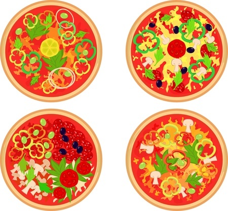 Set of four kinds of pizza Stock Vector - 12482501