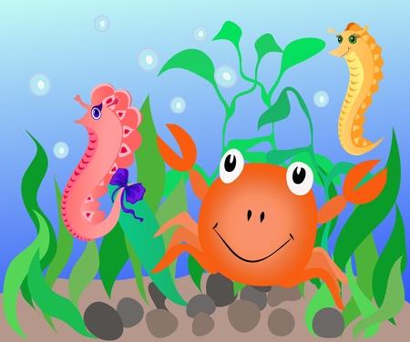 horsefish: ilustraci�n que representa la flora y fauna submarina, como caballitos de mar y cangrejos