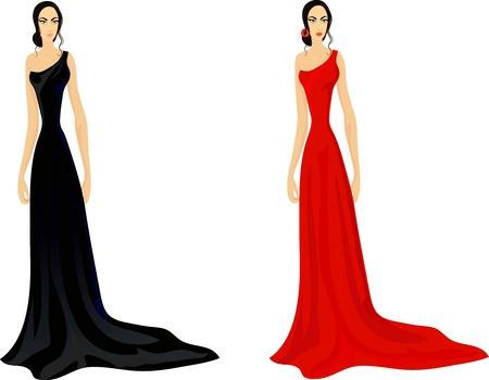 evening ball: Set of two fashionable women in splendid evening dress