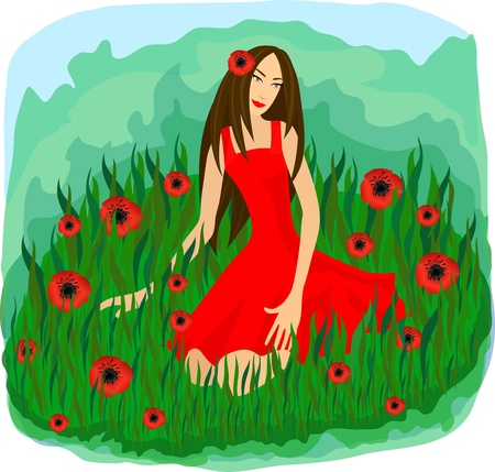 admirable: Beautiful girl in red sitting among grass and poppy flower   Illustration