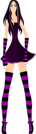 Pretty fashionable stripy girl   Stock Vector - 12807227